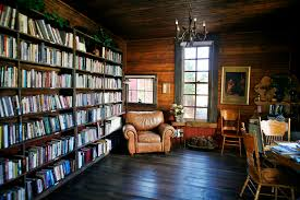 awesome home library design ideas with brown wooden wall