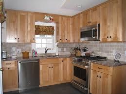 oak cabinets white subway tile windswept blue walls shaker of also