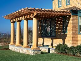 Roofing For Pergola by Incredible Roofing Ideas For Pergolas With Large Wooden Poles And