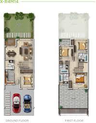 damac dubai akoya cuatro villas four bedrooms floor layout plan