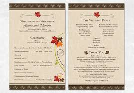 fall wedding programs printable fall wedding program autumn leaves by sweetdstationery
