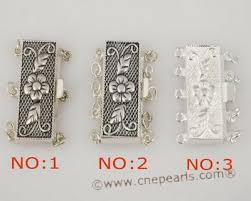 sterling silver bracelet clasps images Sterling silver multi strand carve flower box jewelry clasps in jpg