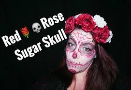 easy halloween makeup red rose sugar skull youtube