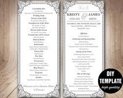 Wedding Anniversary Program Diy 4 Page Layered Wedding Program Template Circle