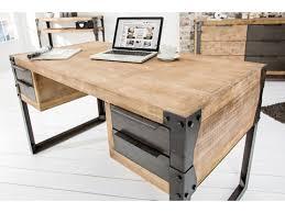 bureau design design en bois massif blanc acacia 4 tiroirs industriel factory 135 cm