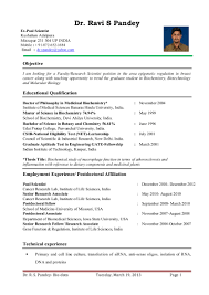 Bio Data Resume Sample by Dr Ravi S Pandey Resume For Assistant Professor Research Scientist U2026