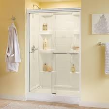 White Shower Door Delta Simplicity 48 In X 70 In Semi Frameless Sliding Shower