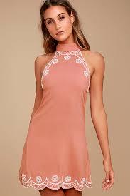 halter dress blush pink dress embroidered dress halter dress 48 00