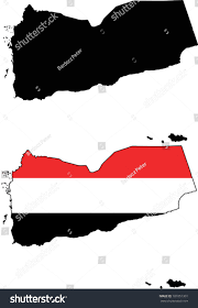 Black And Red Flag Country Highly Detailed Country Silhouette Flag Yemen Stock Vector