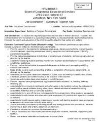 substitute teacher job description cover letter kindergarten