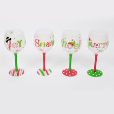 bright and beautiful hand painted christmas wine glass green leaf