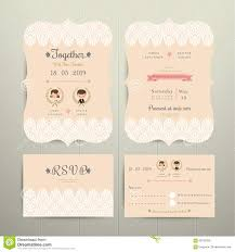 Rsvp On Invitation Card Art Deco Cartoon Couple Wedding Invitation Card And Rsvp Set Stock