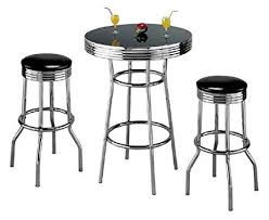 kitchen bar stool and table set amazon com retro 3 piece chrome bar stools and table set kitchen