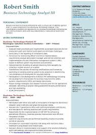 business resume exles business technology analyst resume sles qwikresume