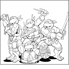 funny ninja turtles team coloring picture kids teenage