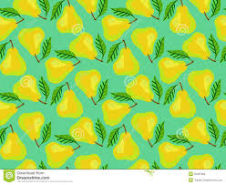 Pear Home Decor Grunge Pattern With Painted Yellow Pears And Leafs Stock Photo