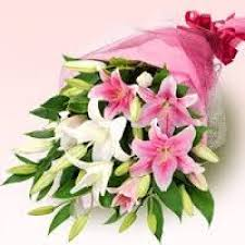 bouquet of lilies beautiful bouquet of 10 lilies in pink and white combination