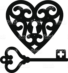 outline of key and locket shaped as hearts stock vector art