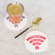 personalised wifi ceramic round drinks coaster by pushka home