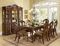 modern antique style brown elegant dining room extendible table