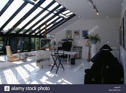 White Loft Artist U0027s Studio In Modern White Loft Extension With Painted White