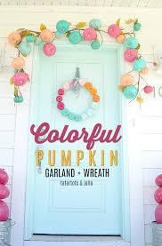 make a easy pumpkin rainbow wreath paint pumpkins for a