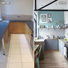 how to paint laminate kitchen cupboards uk budget kitchen makeover with grey cabinets metro tiles and