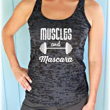 inspirational quote shirts muscles and mascara fitness shirt fitspiration burnout tank top