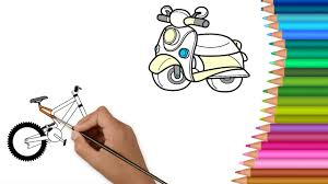 colours for kids bike u0026 motorbike coloring pages l how to color