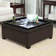 ottoman brown leather tray top ottoman tray top storage ottoman