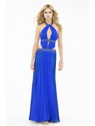 blue chiffon sequined jewel keyhole neckline sleeveless floor