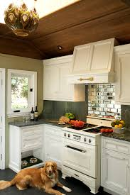 White Appliance Kitchen Ideas Bathroom Cabinetry And Beveled Mirror For Backsplash Plus Range