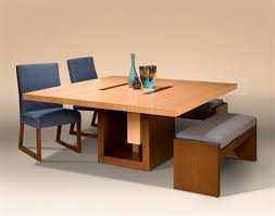 Furniture Modern Minimalist Square Dining Table With Benches And - Square kitchen table with bench