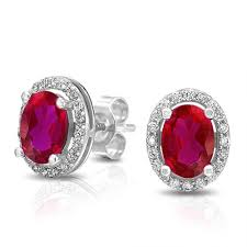 ruby stud earrings oval pink ruby color cz stud earrings 925 sterling silver