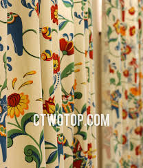 Patterned Window Curtains Chic Cotton Soundproof Beige Multi Color Patterned Bay Window Curtains