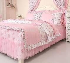 Ruffle Bedding Set Pink Rural Princess Lace Ruffle Floral Bedding Sets Soft Bow