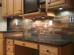 gorgeous slate stone kitchen backsplash combine with dark