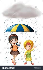 two kids umbrella raincoat rain illustration stock vector