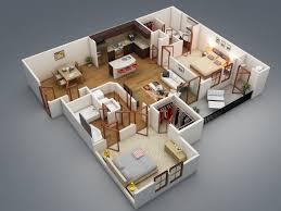 plan appartement 3 chambres 50 plans 3d d appartement avec 2 chambres