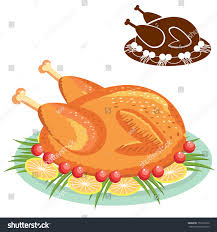 thanksgiving meal clipart roast chicken on plate vector food stock vector 152518232