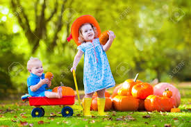 kids playing at pumpkin patch at halloween children play and