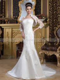 wedding dress with bolero marjey strapless satin mermaid wedding dress with lace bolero