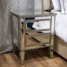 two drawer bedside table pottery barn park mirrored 2 drawer bedside table look for less