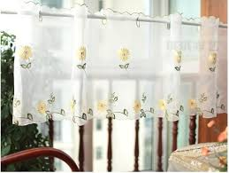Sunflower Valance Kitchen Curtains by White Sheer Curtain Embroidery Sunflower Half Cafe Curtain Sheer