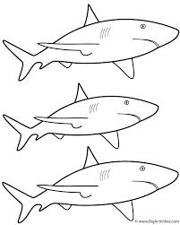 3 white sharks coloring sea marine