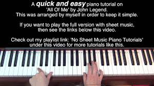 tutorial piano simple all of me by john legend easy piano tutorial youtube