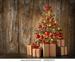 Decorated Christmas Tree Gifts by Christmas Tree Gifts On Red Background Stock Photo 159540854