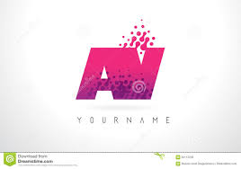 pink colors av a v letter logo with pink purple color and particles dots des