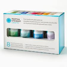 martha stewart crafts glass 8 color paint set frost