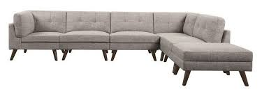Modern Modular Sofa Coaster 551301 6 Pc Churchill Collection Grey Linen Like Fabric